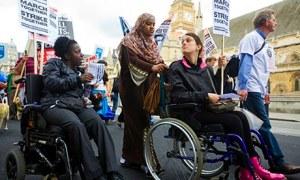 A protest in London by disabled people against cuts in their benefits